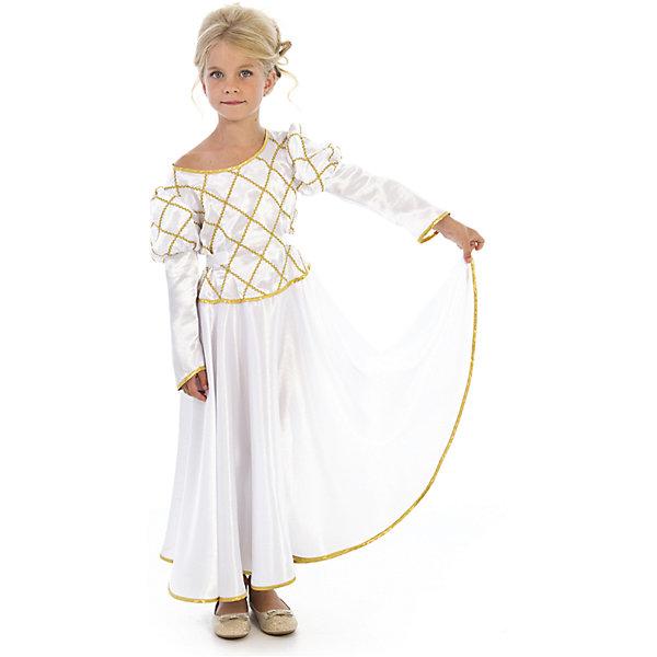 Карнавальный костюм Принцесса (белая), ВестификаКарнавальные костюмы для девочек<br>Карнавальный костюм Принцесса (белая), Вестифика. В комплект входит: Платье, нижняя юбка.<br>Ширина мм: 450; Глубина мм: 80; Высота мм: 350; Вес г: 340; Возраст от месяцев: 72; Возраст до месяцев: 84; Пол: Женский; Возраст: Детский; Размер: 116/122; SKU: 5033375;