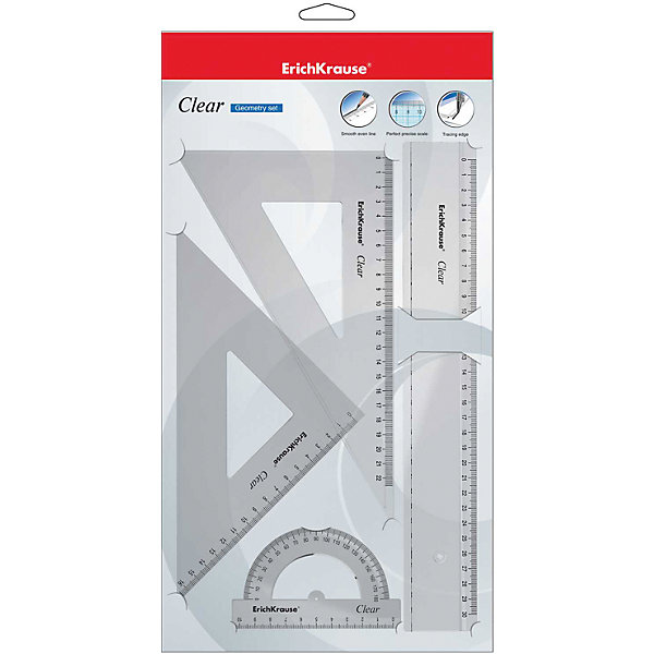 Erich Krause Геометрический набор CLEAR, в полибеге erich krause набор тетрадей родные просторы пруд 24 листа в линейку 10 шт