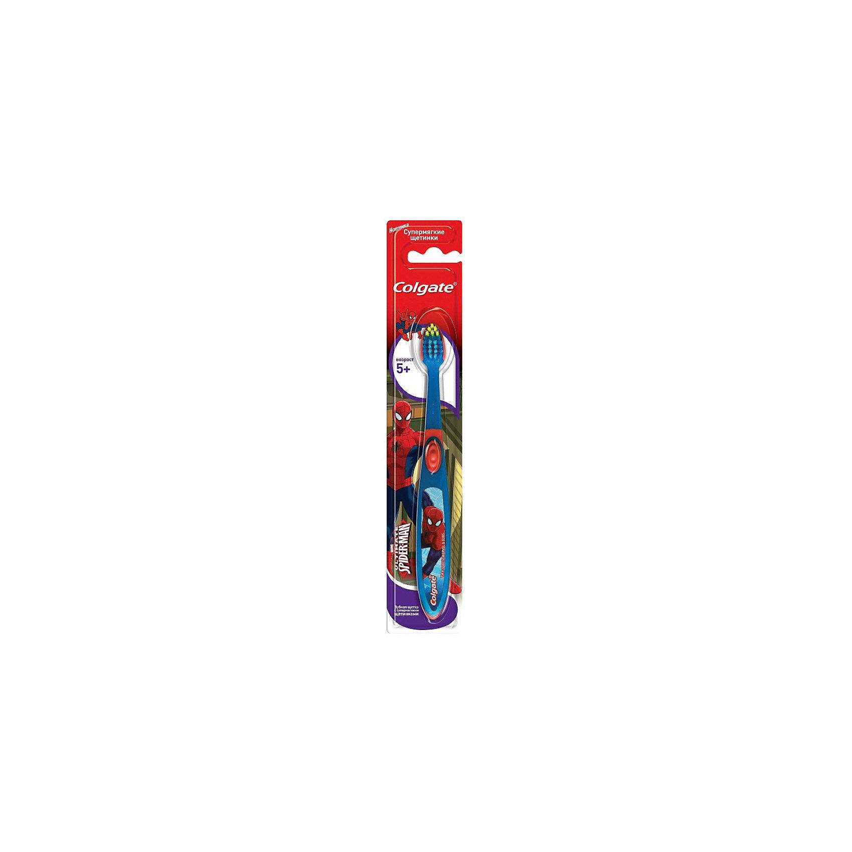 Зубная щётка Смайлс SpiderMan супермягкая для детей старше 5 лет, Colgate, синий/красный