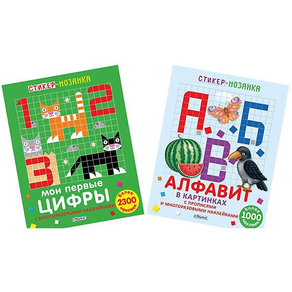 Комплект из 2 книг Стикер-мозаика: Буквы и цифрыМатематика<br>В состав комплекта входят две стикер-мозаики для изучения букв и цифр. Книжки с многоразовыми наклйеками, прописями, ламинированными страничками на перфорации. Книжки специально разработаны для интересного и веселого изучения алфавита и цифр.<br>Ширина мм: 278; Глубина мм: 215; Высота мм: 4; Вес г: 278; Возраст от месяцев: 60; Возраст до месяцев: 108; Пол: Унисекс; Возраст: Детский; SKU: 5034140;