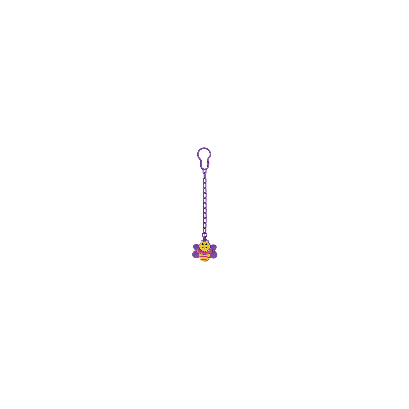 Клипса для соски-пустышки Пчелка от 0 мес., LUBBY, фиолетовый