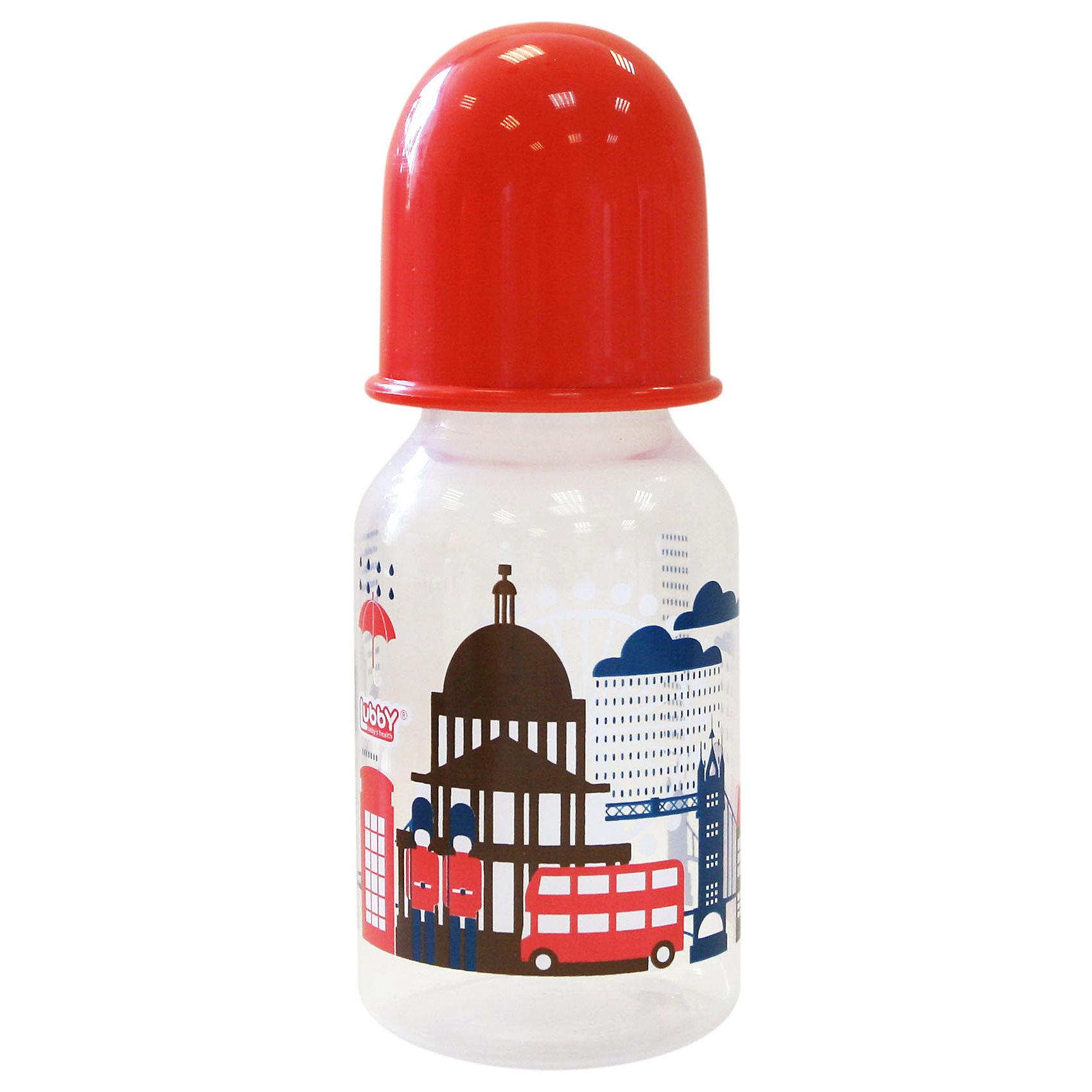 Бутылочка с соской Я люблю от 0 мес., 125-130 мл., LUBBY, красный