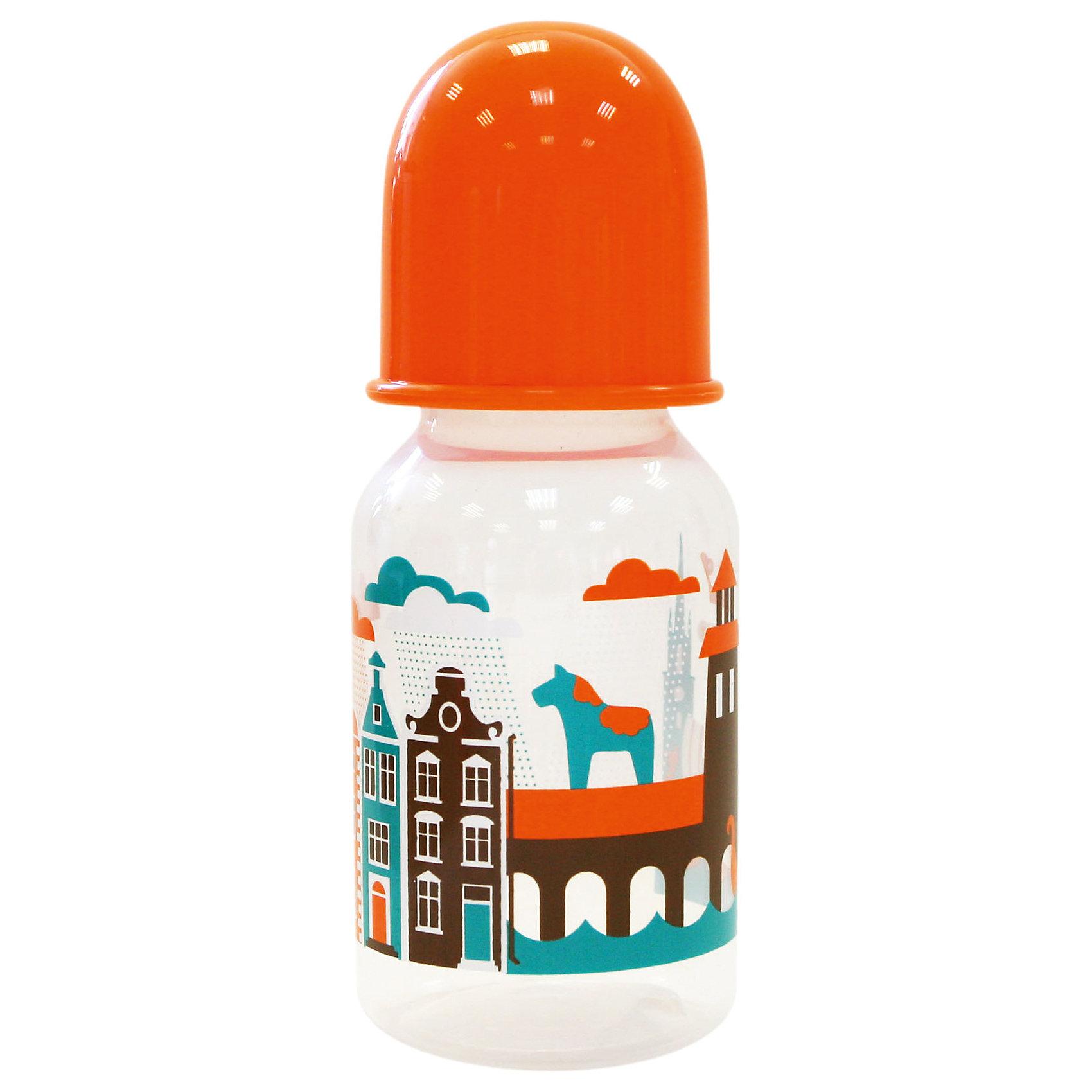 Бутылочка с соской Я люблю от 0 мес., 125-130 мл., LUBBY, оранжевый