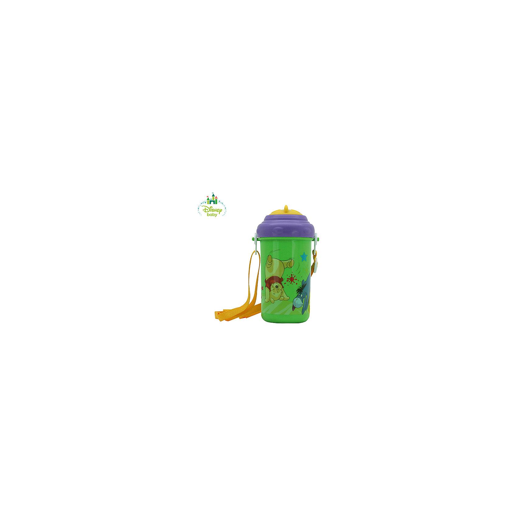 Поильник Медвежонок Винни DISNEY от 6 мес., 360 мл. с трубочкой и ремешком, LUBBY, зелен