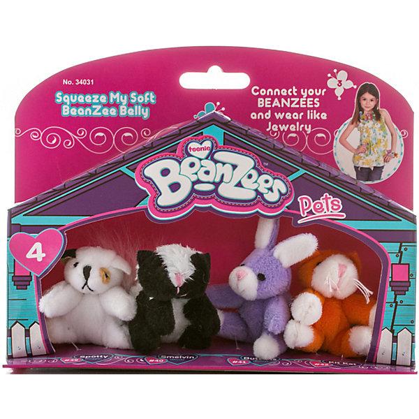 Мини-плюш в наборе Песик, Скунс, Кролик, Котик, BeanzeezМягкие игрушки животные<br>Характеристики товара:<br><br>- цвет: разноцветный;<br>- материал: текстиль;<br>- комплектация: 4 фигурки животных;<br>- особенности: наличие на лапках липучек, игрушку можно соединять с другими героями из серии;<br>- живот заполнен гранулами;<br>- размер упаковки: 5х15х19 см;<br>- упаковка: блистер;<br>- вес: 100 г.<br><br>Такая симпатичная игрушка не оставит ребенка равнодушным! Какой малыш откажется поиграть с маленькими плюшевыми игрушками из большой пушистой коллекции?! Игрушки очень качественно выполнены, поэтому такой набор станет отличным подарком ребенку. В наборе идет четыре плюшевых фигурки животных. С ними можно придумать множество сюжетов, разыгрывая которые, ребенок развивает мелкую моторику, воображение и творческое мышление.<br>Изделие произведено из высококачественного материала, безопасного для детей.<br><br>Мини-плюш в наборе Песик, Скунс, Кролик, Котик от бренда Beanzeez можно купить в нашем интернет-магазине.<br>Ширина мм: 50; Глубина мм: 150; Высота мм: 190; Вес г: 93; Возраст от месяцев: 36; Возраст до месяцев: 2147483647; Пол: Женский; Возраст: Детский; SKU: 5039897;
