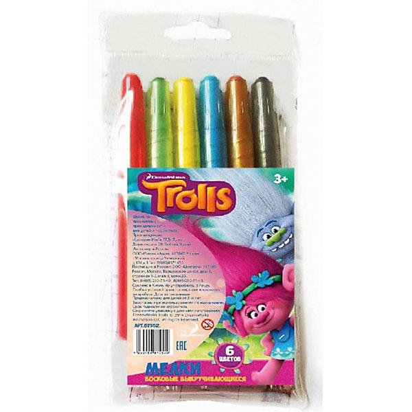CENTRUM Мелки восковые выкручивающиеся Тролли, 6 цветов