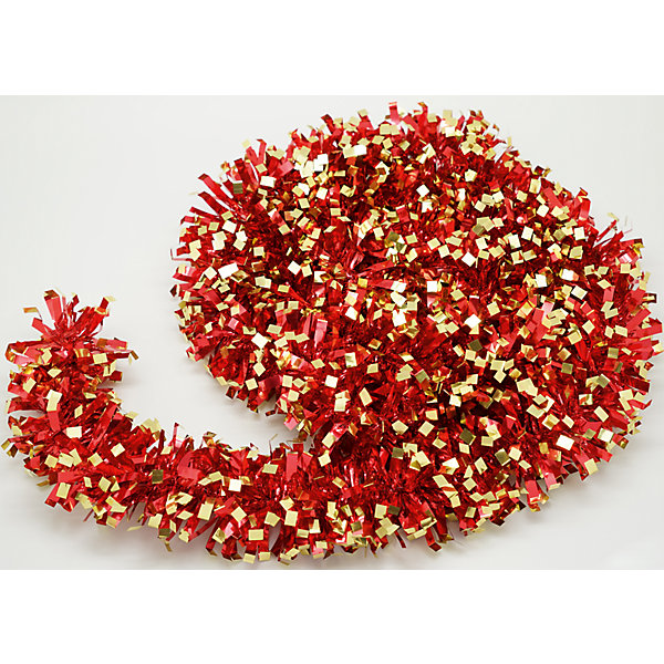 Новогодняя мишура, красная с золотом 9х200