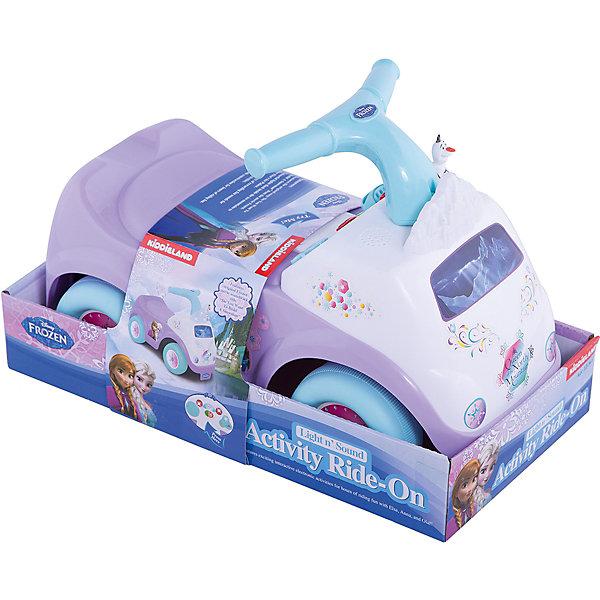 Каталка - пушкар Холодное сердце, KiddielandКаталки для малышей<br>Каталка - пушкар Холодное сердце, Kiddieland<br><br>Характеристики:<br>- В набор входит: каталка, элементы питания<br>- Материал: пластик<br>- Элементы питания: батарейки АА, 2 шт.<br>- Размер упаковки: 33 * 51 * 26 см.<br>- Максимальный вес ребенка: 25 кг.<br>- Вес каталки: 3 кг.<br>Каталка - пушкар Холодное сердце произведена известным китайским брендом игрушек для детей Kiddieland (Киддилэнд) согласно лицензии компании Disney (Дисней) и станет прекрасным подарком для ребенка. Нежный лиловый и голубой цвета под стать самим принцессам Анне и Эльзе из мультфильма и привлекает внимание, а обширное сидение обеспечивает нужный комфорт за рулем. Каталка издает звуки и поет песенки, чтобы маленькая принцесса не скучала за рулем. Голубой руль с двумя ручками как у велосипеда удобно держать детским ручкам. Каталка приводится в движение путем отталкивания ножками от пола. Изготовленная из качественного пластика, яркая каталка способствует развитию координации движения, восприятия цвета и звука, воображения, моторики рук. <br>Каталку - пушкар Холодное сердце, Kiddieland (Киддилэнд) можно купить в нашем интернет-магазине.<br>Подробнее:<br>• Для детей в возрасте: от 1 до 3 лет<br>• Номер товара: 5054097<br>Страна производитель: Китай<br>Ширина мм: 550; Глубина мм: 380; Высота мм: 250; Вес г: 1870; Возраст от месяцев: 12; Возраст до месяцев: 36; Пол: Унисекс; Возраст: Детский; SKU: 5054097;