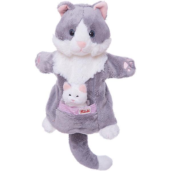 Trudi Мягкая игрушка на руку Кошка с котенком, 28 см, Trudi мягкие игрушки trudi лайка маркус 34 см