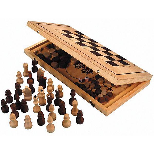 Игра 3 в 1 Шахматы, нарды, шашки, деревяннаяИгровые наборы<br>Основные характеристики<br><br>Назначение: настольная игра<br>Вид: классическая<br>В наборе: шахматы, нарды, шашки<br>Размер: 29*14,5*3,8см <br>Материал: доска - фанера, сосна; фигуры - береза<br>Страна-производитель: Россия<br>Упаковка: пакет<br>Ширина мм: 220; Глубина мм: 40; Высота мм: 410; Вес г: 980; Возраст от месяцев: 36; Возраст до месяцев: 192; Пол: Унисекс; Возраст: Детский; SKU: 5056604;