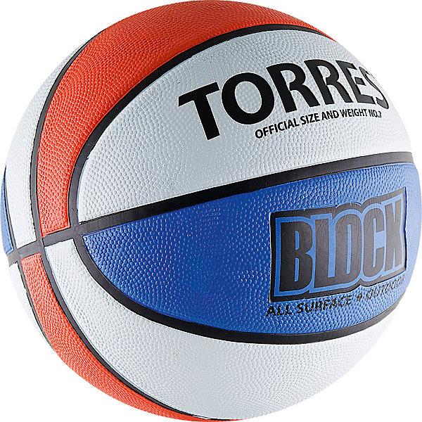 Torres Баскетбольный мяч Block, р. 7, резина, бело-сине-красный,