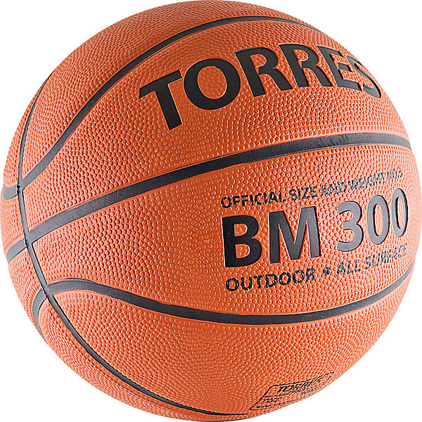 Баскетбольный мяч BM300, р. 7, резина, темнооранж., TORRESМячи детские<br>Основные характеристики<br><br>Вид: баскетбольный<br>Уровень игры: тренировочный<br>Размер: 7<br>Количество панелей: 8<br>Тип соединения панелей: клееный<br>Вес: 567-650гр<br>Окружность: 74,9-78см<br>Цвет основной: коричневый<br>Цвет дополнительный: черный<br>Материал камеры: бутиловая<br>Материал обмотки камеры: нейлон<br>Материал покрышки: резина<br>Предназначен для игры на специально оборудованных площадках в зале и на улице<br>Страна-производитель: Китай <br>Упаковка: пакет (поставляется в сдутом виде)<br><br>Тренировочный мяч серии School Line. Данная серия была разработана в сотрудничестве с тренерами и преподавателями общеобразовательных учреждений, исходя из рекомендаций и требований, предъявляемых к техническим характеристикам мяча, и пожеланий по стоимости. Поэтому основные рекомендации по данному мячу - это использование его для тренировок и соревнований команд среднего уровня в учебных учреждениях, для комплектации заказов на поставку спортивного инвентаря в рамках госзакупок.<br>Ширина мм: 260; Глубина мм: 260; Высота мм: 50; Вес г: 600; Возраст от месяцев: 36; Возраст до месяцев: 192; Пол: Унисекс; Возраст: Детский; SKU: 5056633;