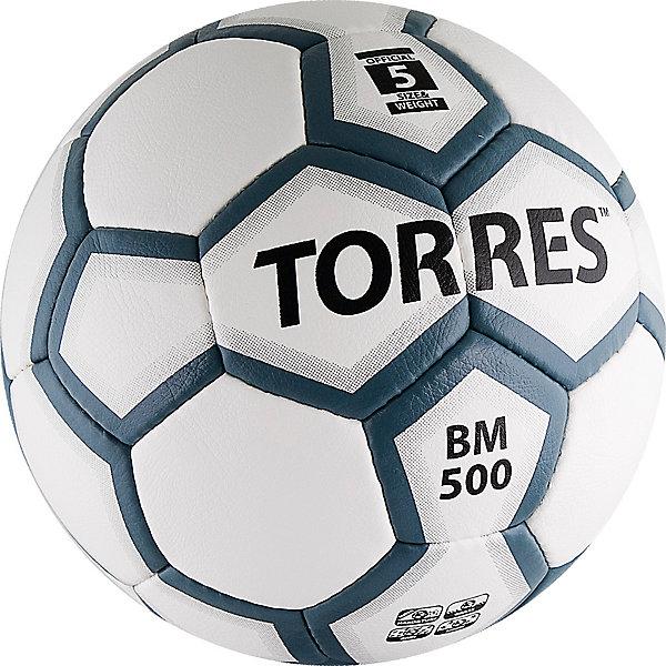 Футбольный мяч BM 500 p.5, TORRESМячи детские<br>Основные характеристики<br><br>Тип: футбольный<br>Размер: 5 <br>Окружность: 68-70см<br>Количество панелей: 32<br>Количество подкладочных слоев: 4<br>Вес: 410-450гр<br>Материалы камеры: латексная<br>Материал покрышки: матовый полиуретан<br>Тип соединения панелей: ручная сшивка<br>Цвет основной: белый<br>Цвет дополнительный: серый, черный<br>Вид применения: тренировочный уровень игры в футбол<br>Подходит для игры на любых поверхностях в любых погодных условиях (при соблюдении условий эксплуатации и ухода)<br>Страна-производитель: Пакистан<br>Упаковка: полиэтиленовый пакет (поставляется в сдутом виде)<br><br>Единственная в линейке School модель, рассчитанная на супержесткие поверхности за счет применения полиуретана с микрорельефной структурой.<br>Ширина мм: 223; Глубина мм: 223; Высота мм: 75; Вес г: 430; Возраст от месяцев: 36; Возраст до месяцев: 192; Пол: Унисекс; Возраст: Детский; SKU: 5056647;