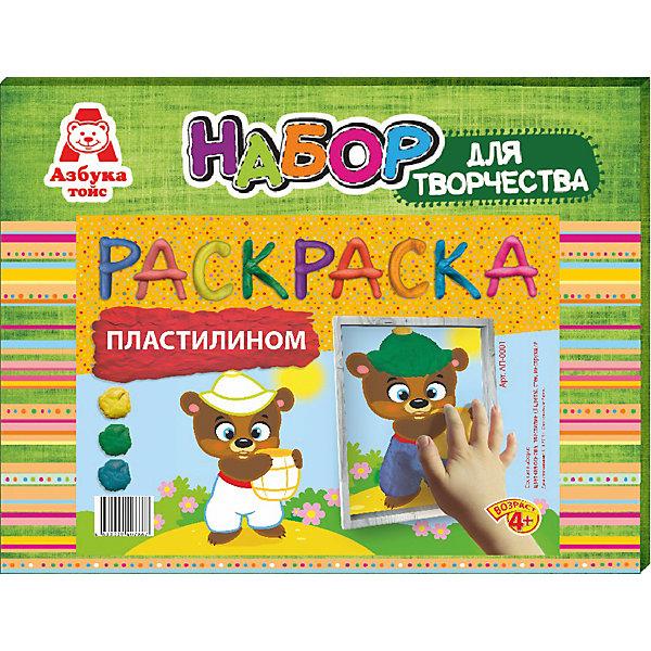 Раскраска пластилином МишкаКартины из пластилина<br>Характеристики товара:<br><br>• количество цветов: 3<br>• возраст: 4+<br>• масса: 160 г<br>• в комплект входит стек из пластика и картинка<br>• габариты: 270 х 30 х 210 мм<br>• упаковка: коробка<br>• страна бренда: РФ<br>• страна изготовитель: РФ<br><br>Раскрашивать картинки карандашами – привычное дело. Но что если попробовать новые материалы, например, цветной песок? Создание предметов для декорирования нравится всем малышам, так как они видят готовый результат и могут использовать его для украшения своей комнаты. В набор входит все необходимое для создания картинки. Такой вид времяпровождения развивает мелкую моторику , усидчивость, внимательность, творческие способности и аккуратность малыша. <br>Набор станет отличным подарком ребенку, так как он сможет сам сделать полезную вещь для себя или в качестве подарка близким! Материалы, использованные при изготовлении товара, сертифицированы и отвечают всем международным требованиям по качеству. <br><br>Раскраску пластилином Мишка от бренда Азбука Тойс можно приобрести в нашем интернет-магазине.<br>Ширина мм: 270; Глубина мм: 30; Высота мм: 210; Вес г: 160; Возраст от месяцев: 48; Возраст до месяцев: 96; Пол: Унисекс; Возраст: Детский; SKU: 5062810;