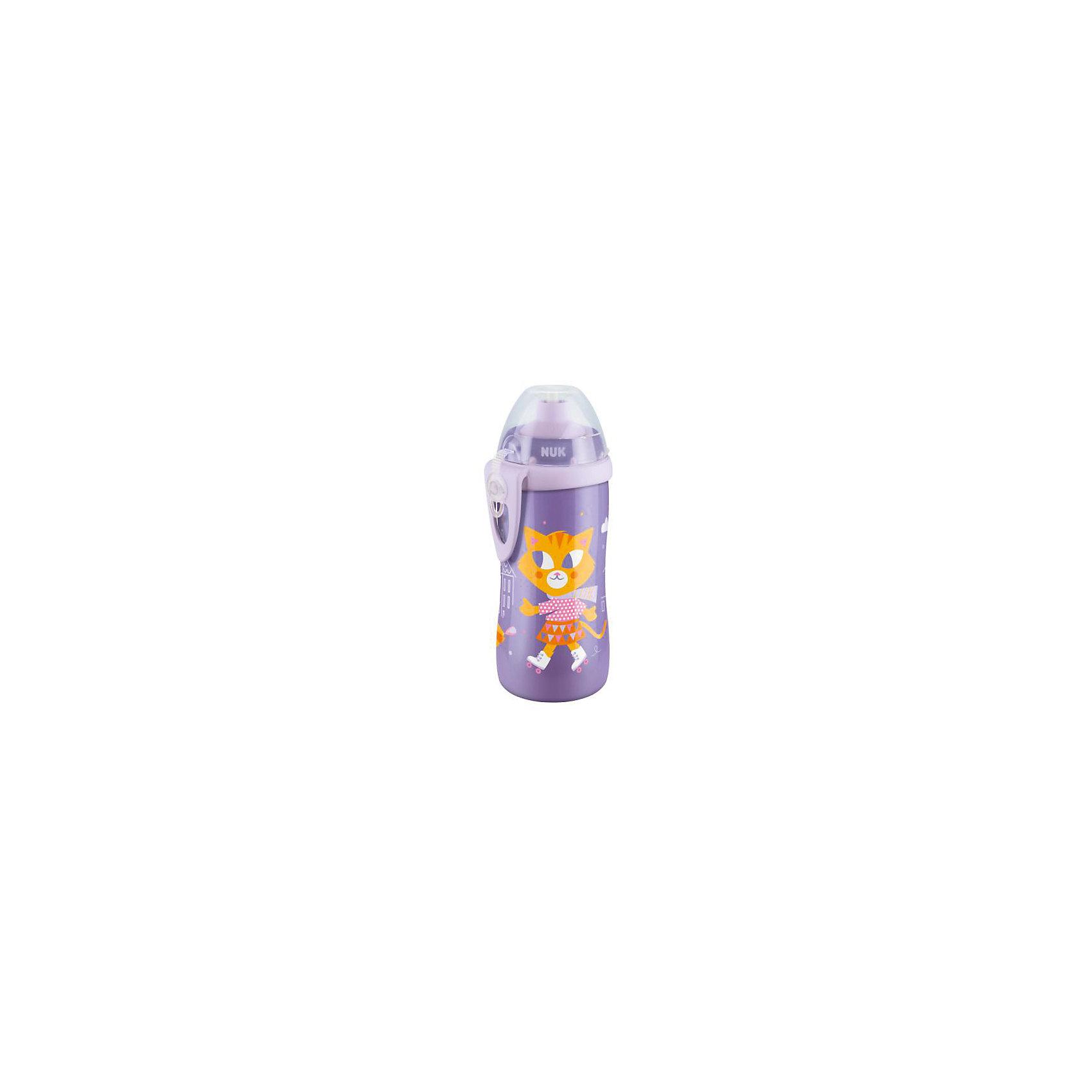 Поильник с насадкой Тяни-толкай Кошечка, 300 мл., NUK, фиолетовый
