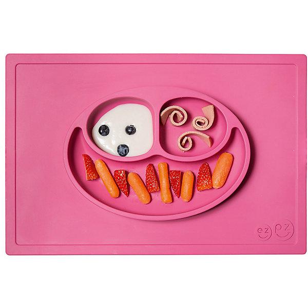 Тарелка трехсекционная с подставкой Happy Mat, 540 мл., ezpz, розовыйДетская посуда<br>Тарелка с подставкой Happy Mat, ezpz, розовый.<br><br>Характеристики:<br>• изготовлена из качественного пищевого силикона<br>• надежно крепится к столу<br>• сгибается по краям<br>• 3 отсека для еды<br>• подходит для посудомоечной машины и микроволновой печи<br>• не содержит бисфенол, свинец, фталаты, поливинилхлорид<br>• приятный дизайн<br>• состав: 100% силикон<br>• размер: 38х25,5х3 см<br>• объем: 540 мл<br>• цвет: розовый <br><br>Тарелка с подставкой Happy Mat, ezpz пригодится, если в доме живут маленькие непоседы. Тарелка имеет 3 глубоких отсека, что позволяет подавать еду раздельно. Вы сможете одновременно подать к столу мясо, гарнир и фрукты, не пачкая лишнюю посуду. Дно тарелки надежно крепится к плоской поверхности - вы можете не переживать, что малыш опрокинет еду и обожжется. Приятный дизайн тарелки понравится ребенку, и он обязательно будет есть с аппетитом!<br><br>Тарелку с подставкой Happy Mat, ezpz, розовый можно купить в нашем интернет-магазине.<br>Ширина мм: 380; Глубина мм: 25; Высота мм: 255; Вес г: 701; Возраст от месяцев: 0; Возраст до месяцев: 36; Пол: Унисекс; Возраст: Детский; SKU: 5068705;