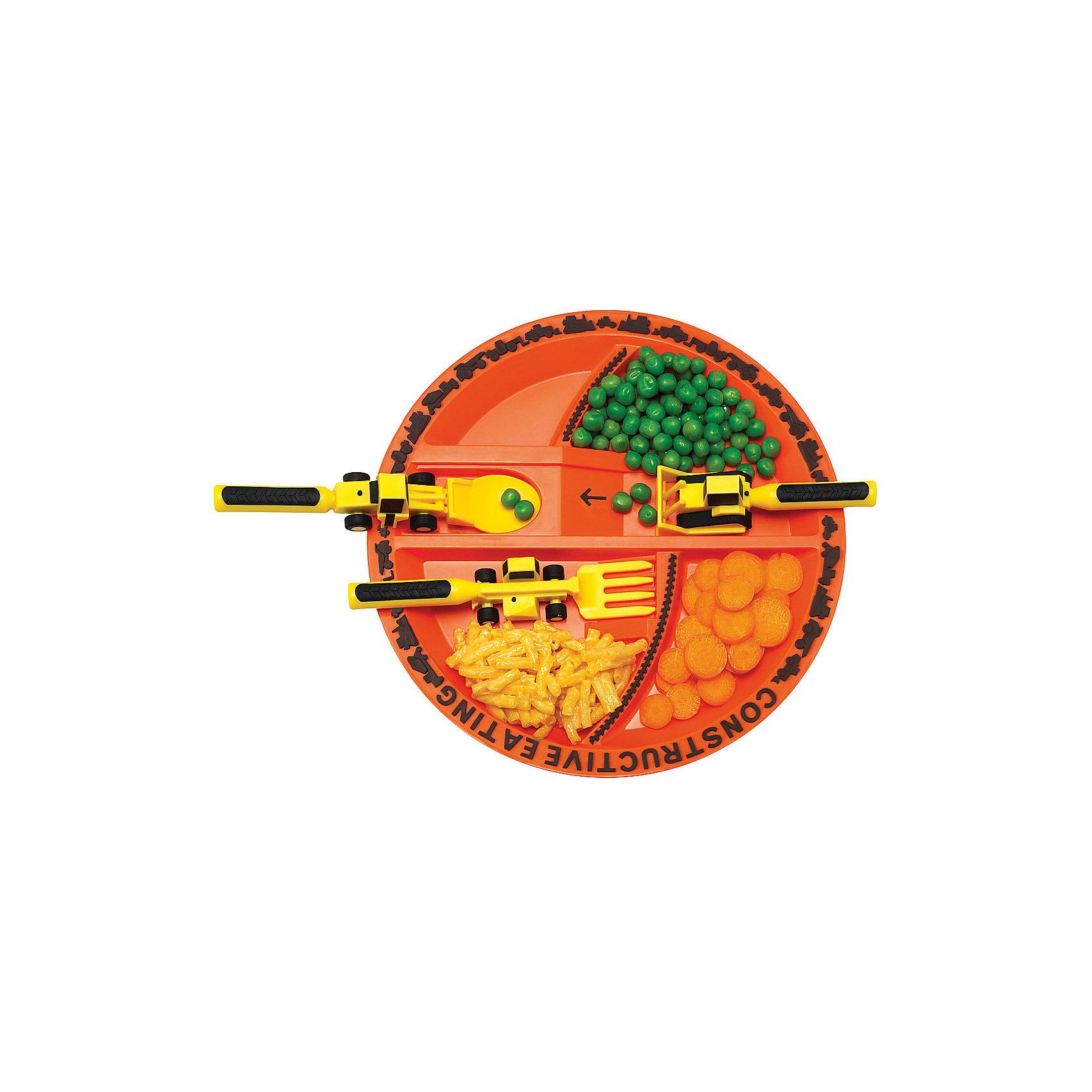 Набор из трех столовых приборов Строительная серия, Constructive Eating, желтый (Constructive eating)