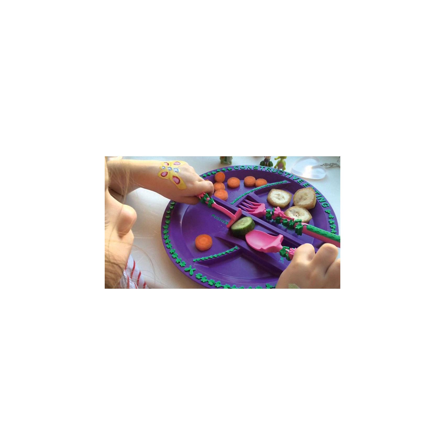 Набор из трех столовых приборов Серия Волшебный сад, Constructive Eating, розовый (Constructive eating)