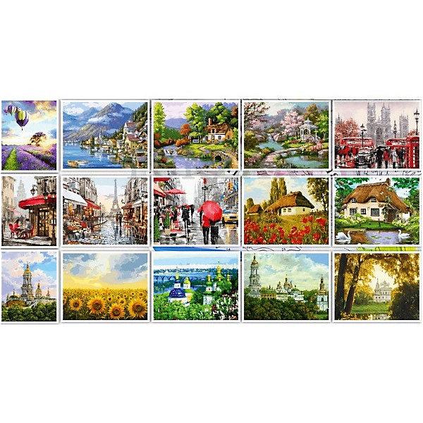 Купить Набор для раскрашивания по номерам 40*50 см, 15 картин Пейзаж-4, TUKZAR, Китай, Унисекс