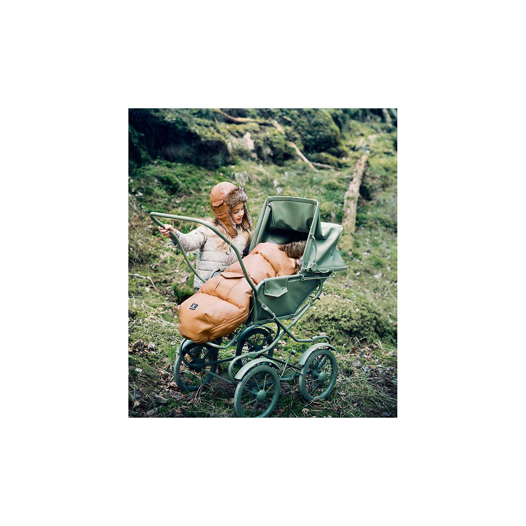 Конверт зимний с опушкой в коляску Chestnut Leather, Elodie Details