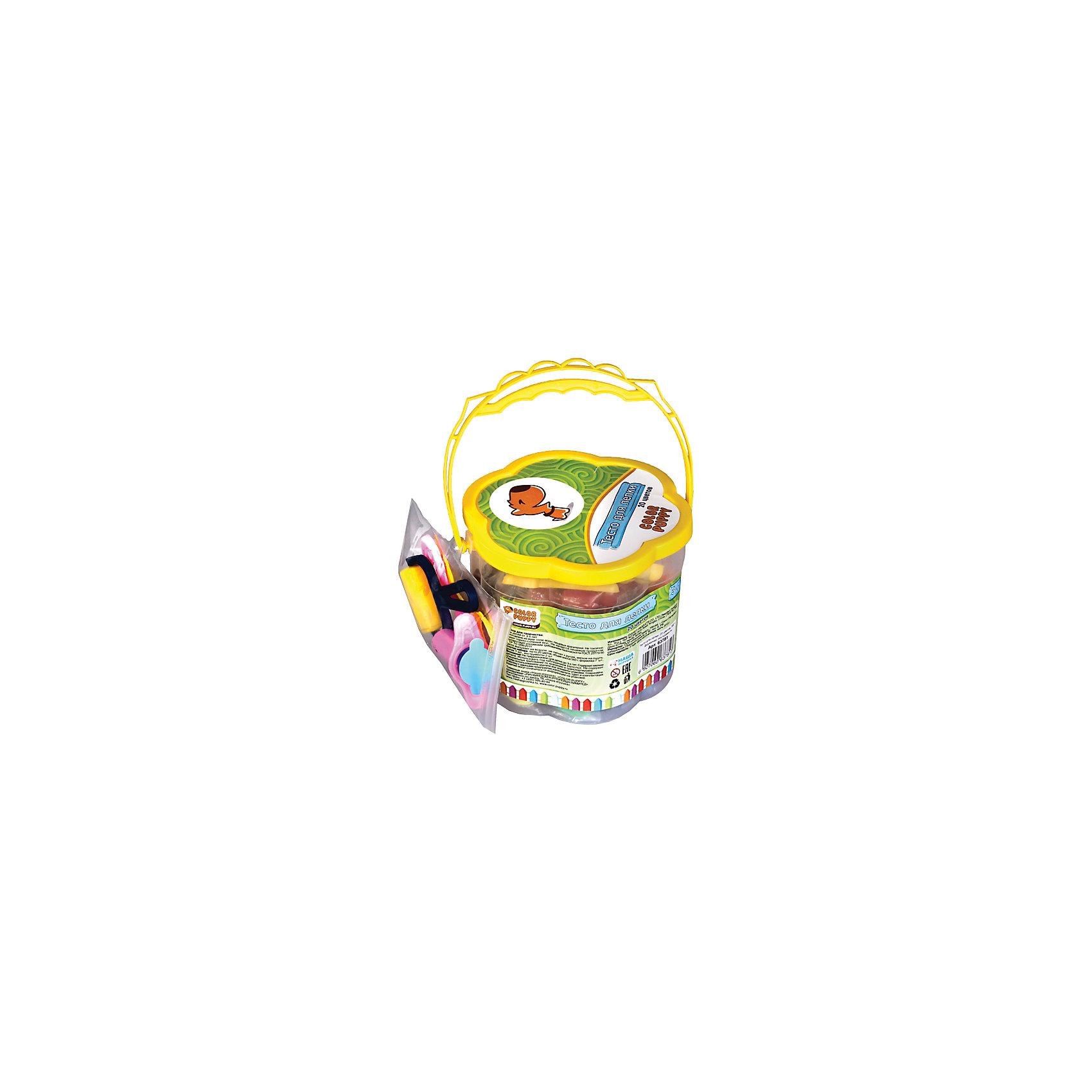 Тесто для лепки: 20 цветов, 560г, формочки, инструменты Color Puppy