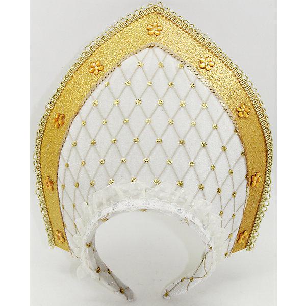 Новогодняя сказка Кокошник Новогодняя сказка 23 см, бело-золотой новогодняя сказка кокошник 23х30 см белый с золотым