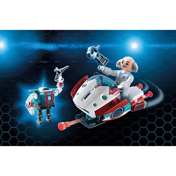 Конструктор PlaymobilСкайджет с Доктором Х и РоботПластмассовые конструкторы<br>Характеристики товара:<br><br>• возраст: от 5 лет;<br>• материал: пластик;<br>• в комплекте: фигурка, робот, транспортное средство, аксессуары;<br>• размер упаковки: 18,7х24,8х7,2 см;<br>• вес упаковки: 250 гр.;<br>• страна бренда: Германия.<br><br>Игровой набор «Скайджет с Доктором Х и Робот» создан по мотивам известного мультсериала «Суперчетверка». В набор входят фигурка Доктора Х, его робота и летательный аппарат Скайджет. У фигурок имеются подвижные элементы. На Скайджет расположена пушка, стреляющая ракетами.<br><br>Игровой набор «Скайджет с Доктором Х и Робот» можно приобрести в нашем интернет-магазине.<br>Ширина мм: 253; Глубина мм: 192; Высота мм: 78; Вес г: 209; Возраст от месяцев: 60; Возраст до месяцев: 144; Пол: Мужской; Возраст: Детский; SKU: 5086049;