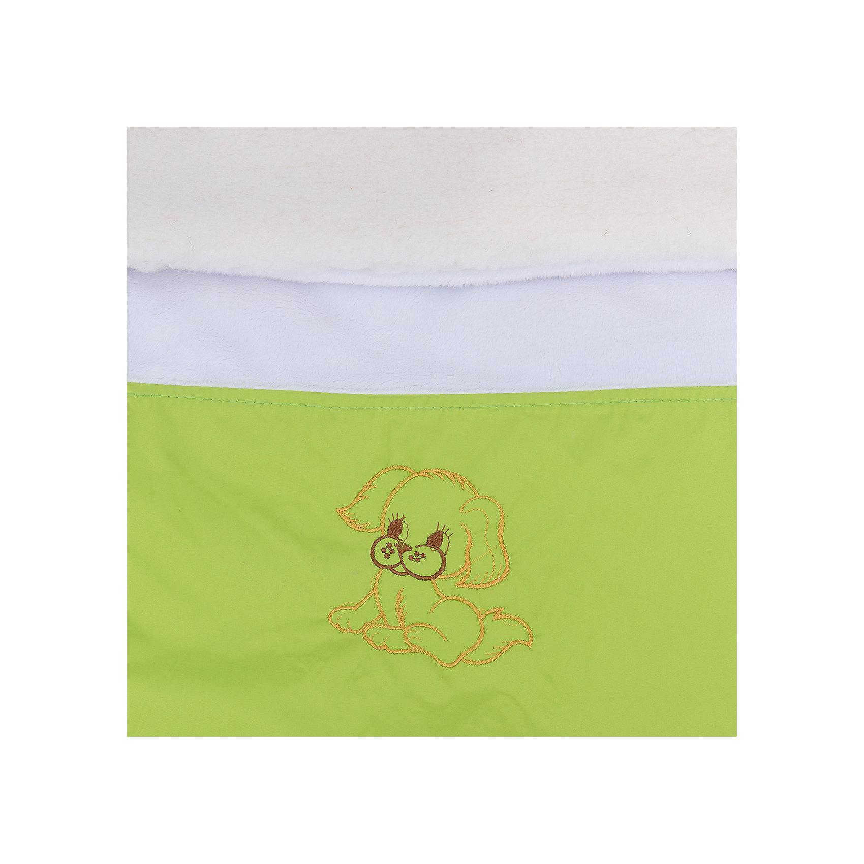 Меховой конверт Ладушка, Топотушки, зеленый