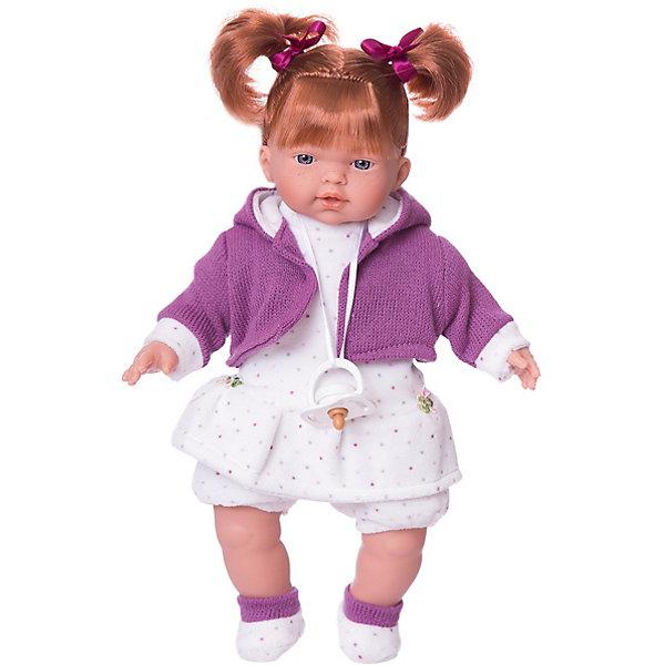 Кукла Алиса, 33 см, LlorensLlorens<br>Характеристики:<br><br>• Предназначение: для сюжетно-ролевых игр<br>• Тип куклы: мягконабивная<br>• Пол куклы: девочка <br>• Цвет волос: шатенка<br>• Материал: поливинилхлорид, пластик, нейлон, текстиль<br>• Цвет: розовый, белый<br>• Высота куклы: 33 см<br>• Комплектация: кукла, платье, курточка, носочки, пустышка<br>• Звуковые эффекты: плачет, произносит мама и папа<br>• Батарейки: з шт. типа AG13/LR44 (предусмотрены в комплекте)<br>• Вес: 660 г<br>• Размеры упаковки (Д*В*Ш): 20*37*10 см<br>• Упаковка: подарочная картонная коробка <br>• Особенности ухода: допускается деликатная стирка без использования красящих и отбеливающих средств предметов одежды куклы<br><br>Кукла Алиса 33 см – кукла, производителем которого является всемирно известный испанский кукольный бренд Llorens. Куклы этой торговой марки имеют свою неповторимую внешность и целую линейку образов как пупсов, так и кукол-малышей. Игрушки выполнены из сочетания поливинилхлорида и пластика, что позволяет с высокой долей достоверности воссоздать физиологические и мимические особенности маленьких детей. При изготовлении кукол Llorens используются только сертифицированные материалы, безопасные и не вызывающие аллергических реакций. Волосы у кукол отличаются густотой, шелковистостью и блеском, при расчесывании они не выпадают и не ломаются.<br>Кукла Алиса 33 см выполнена в образе малышки: голубые глаза, веснушки и задорные короткие хвостики делают образ куклы необычайно очаровательным. В комплект одежды Алисы входит теплое платьице в горошек, короткие панталончики, вязаная кофточка с капюшоном и пинеточки. Алиса умеет плакать, а также говорить мама и папа. Чтобы малышка не плакала, у нее имеется соска на атласной ленточке. <br>Кукла Алиса 33 см – это идеальный вариант для подарка к различным праздникам и торжествам.<br><br>Куклу Алису 33 см можно купить в нашем интернет-магазине.<br>Ширина мм: 20; Глубина мм: 37; Высота мм: 10; Вес г: 660; Возраст от месяцев: 36; Возраст до