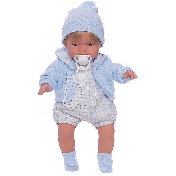 Кукла Пабло, 38 см, LlorensLlorens<br>Характеристики:<br><br>• Предназначение: для сюжетно-ролевых игр<br>• Тип куклы: мягконабивная<br>• Пол куклы: мальчик <br>• Цвет волос: блондин<br>• Материал: поливинилхлорид, пластик, нейлон, текстиль<br>• Цвет: голубой, белый<br>• Высота куклы: 38 см<br>• Комплектация: кукла, комбинезон, кофточка, носочки, шапочка, пустышка с держателем<br>• Звуковые эффекты: плачет, произносит мама и папа<br>• Батарейки: з шт. типа AG13/LR44 (предусмотрены в комплекте)<br>• Вес: 1 кг 050 г<br>• Размеры упаковки (Д*В*Ш): 23*45*12 см<br>• Упаковка: подарочная картонная коробка <br>• Особенности ухода: допускается деликатная стирка без использования красящих и отбеливающих средств предметов одежды куклы<br><br>Кукла Пабло 38 см – кукла, производителем которого является всемирно известный испанский кукольный бренд Llorens. Куклы этой торговой марки имеют свою неповторимую внешность и целую линейку образов как пупсов, так и кукол-малышей. Игрушки выполнены из сочетания поливинилхлорида и пластика, что позволяет с высокой долей достоверности воссоздать физиологические и мимические особенности маленьких детей. При изготовлении кукол Llorens используются только сертифицированные материалы, безопасные и не вызывающие аллергических реакций. Волосы у кукол отличаются густотой, шелковистостью и блеском, при расчесывании они не выпадают и не ломаются.<br>Кукла Пабло 38 см выполнена в образе малыша: голубые глаза и светлые волосы делают образ куклы необычайно очаровательным. В комплект одежды Пабло входит легкий комбинезон, теплая вязаная кофточка с капюшоном, шапочка с помпоном и носочки с помпончиками. Пабло умеет плакать, а также говорить мама и папа. Чтобы малыш не плакал, у него имеется соскас держателем. <br>Кукла Пабло 38 см – это идеальный вариант для подарка к различным праздникам и торжествам.<br><br>Куклу Пабло 38 см можно купить в нашем интернет-магазине.<br>Ширина мм: 23; Глубина мм: 45; Высота мм: 12; Вес г: 1050; Возраст от месяцев: 36; Воз