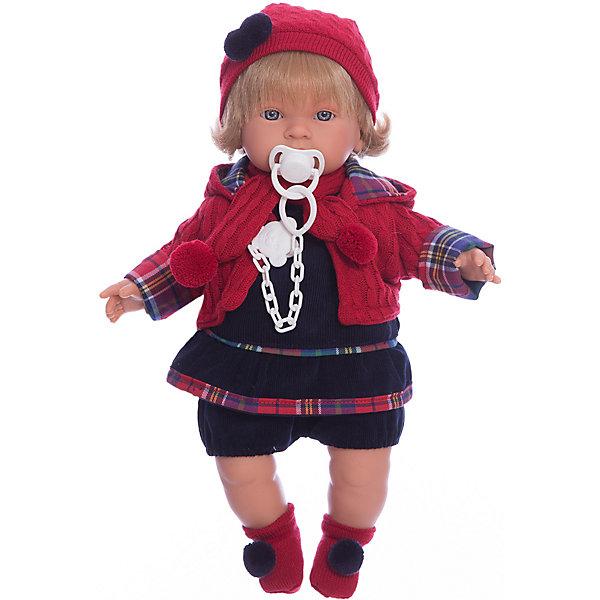 Кукла Марина, 42 см, LlorensКуклы<br>Характеристики:<br><br>• Предназначение: для сюжетно-ролевых игр<br>• Тип куклы: мягконабивная<br>• Пол куклы: девочка <br>• Цвет волос: блондинка<br>• Материал: поливинилхлорид, пластик, нейлон, текстиль<br>• Цвет: синий, красный<br>• Высота куклы: 42 см<br>• Комплектация: кукла, платье, курточка, шапочка, шарф, пинетки, пустышка на цепочке<br>• Вес: 1 кг 360 г<br>• Размеры упаковки (Д*В*Ш): 23*45*12 см<br>• Упаковка: подарочная картонная коробка <br>• Особенности ухода: допускается деликатная стирка без использования красящих и отбеливающих средств предметов одежды куклы<br><br>Кукла Марина 42 см без звука – кукла, производителем которого является всемирно известный испанский кукольный бренд Llorens. Куклы этой торговой марки имеют свою неповторимую внешность и целую линейку образов как пупсов, так и кукол-малышей. Игрушки выполнены из сочетания поливинилхлорида и пластика, что позволяет с высокой долей достоверности воссоздать физиологические и мимические особенности маленьких детей. При изготовлении кукол Llorens используются только сертифицированные материалы, безопасные и не вызывающие аллергических реакций. Волосы у кукол отличаются густотой, шелковистостью и блеском, при расчесывании они не выпадают и не ломаются.<br>Кукла Марина 42 см без звука выполнена в образе малышки: у нее светлые волосы до плеч и голубые глаза. Яркий комплект осенней одежды Марины состоит из вельветового платьица темно-синего цвета, курточки, вязаных с одинаковым рисунком шапочки и шарфа, но ножках – носочки с помпонами. У малышки имеется соска на цепочке-держателе. <br>Кукла Марина 42 см без звука – это идеальный вариант для подарка к различным праздникам и торжествам.<br><br>Куклу Марину 42 см без звука можно купить в нашем интернет-магазине.<br>Ширина мм: 23; Глубина мм: 45; Высота мм: 12; Вес г: 1360; Возраст от месяцев: 36; Возраст до месяцев: 84; Пол: Женский; Возраст: Детский; SKU: 5086914;
