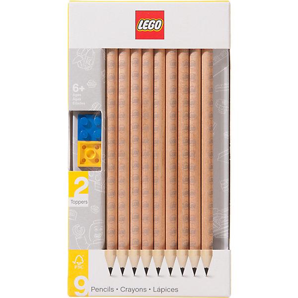 Купить Набор карандашей с 2 насадками в форме кирпичика, 9 шт., LEGO, Китай, Унисекс