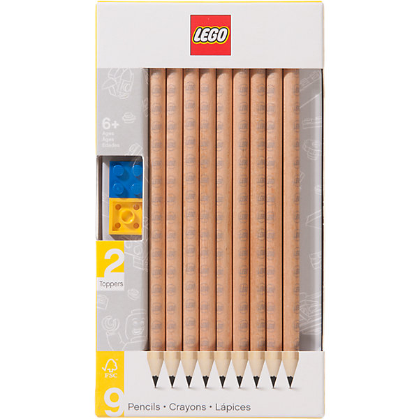 LEGO Набор карандашей с 2 насадками в форме кирпичика, 9 шт., LEGO набор отражателей с насадками magmod starter flash kit mmstrkit01