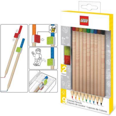 Набор цветных карандашей (9 шт.) с 2 насадками в форме кирпичика LEGO, артикул:5087586 - Чертежные принадлежности