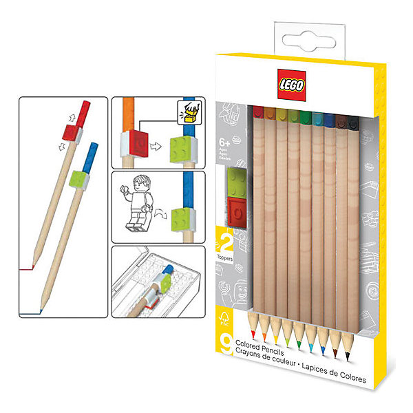 LEGO Набор цветных карандашей (9 шт.) с 2 насадками в форме кирпичика LEGO