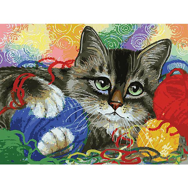 Белоснежка Картина по номерам «Котик с клубочками», 40х30 см