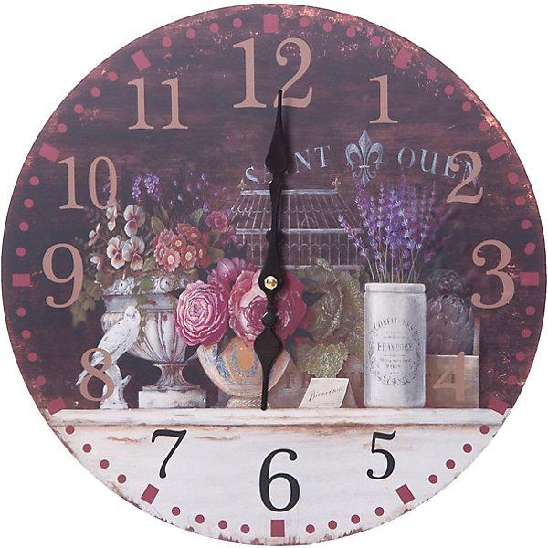 Часы настенные Вечерний Прованс, диаметр 34 смДетские предметы интерьера<br>Часы настенные Вечерний Прованс, диаметр 34 см.<br><br>Характеристики:<br><br>- Диаметр: 34 см.<br>- Две стрелки часовая и минутная<br>- Батарейка: 1 типа АА (в комплект не входит)<br>- Основные цвета: антрацитовый, кремовый, темно-коричневый<br>- Упаковка картонная коробка<br><br>Кварцевые настенные часы с механизмом плавного хода помимо своего прямого назначения – показывать точное время – станут важным элементом декора Вашего дома, квартиры или офиса. Открытый циферблат часов выполнен из листа оргалита с декоративным покрытием, оформлен изображением в прованском стиле. Часовая и минутная стрелки металлические. Часовой механизм закрыт пластиковым корпусом. Часы будут ярким акцентом в интерьере и создадут дополнительный уют и хорошее настроение.<br><br>Часы настенные Вечерний Прованс, диаметр 34 см можно купить в нашем интернет-магазине.<br>Ширина мм: 345; Глубина мм: 340; Высота мм: 45; Вес г: 2500; Возраст от месяцев: 72; Возраст до месяцев: 144; Пол: Унисекс; Возраст: Детский; SKU: 5089835;