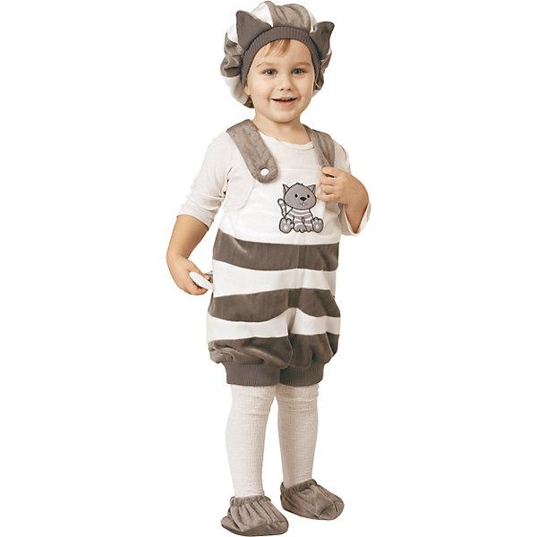 Карнавальный костюм Кот, БатикКарнавальные костюмы для девочек<br>Карнавальный костюм Кот, Батик<br><br>Характеристики:<br><br>• Материал:  плюш.<br>• Цвет: белый, темно-серый.<br>• В комплект входит: шапочка, комбинезон - сзади мягкий хвостик, пинетки.<br><br>Детский карнавальный костюм для мальчиков Котик подарит хорошее настроение и позитив всем гостям любого праздничного или карнавального вечера. Забавный полукомбинезон в серо-белую полосочку, шапочка и пинеточки- все это создано, чтобы ваш малыш получил удовольствие от праздника. Костюм Котик сшит из качественной плюшевой ткани. Все элементы костюма в комплекте создают неповторимый образ милого симпатичного Котика.<br><br>Карнавальный костюм «Кот», Батик, можно купить в нашем интернет- магазине!<br>Ширина мм: 500; Глубина мм: 50; Высота мм: 700; Вес г: 600; Возраст от месяцев: 36; Возраст до месяцев: 48; Пол: Мужской; Возраст: Детский; Размер: 26; SKU: 5092507;
