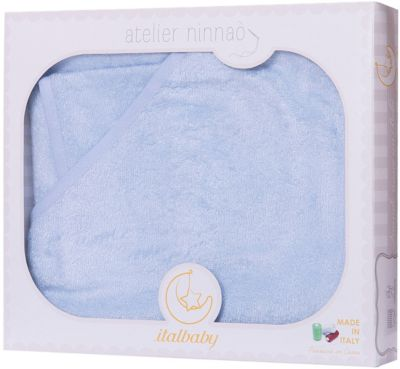 Italbaby Махровое полотенце 100/100, Italbaby, голубой матрасы italbaby baby massage 125х63 см