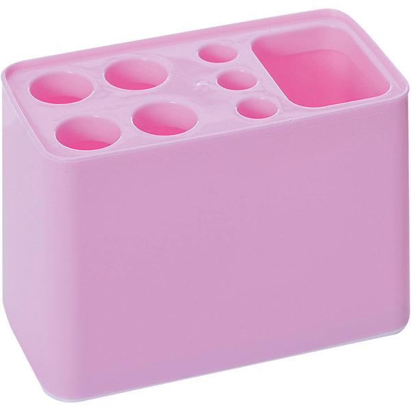 Подставка Дебют для зубных щёток , Alternativa, розовыйАксессуары для ванны<br>Характеристики:<br><br>• Предназначение: для хранения зубных щеток и зубной пасты<br>• Материал: пластик<br>• Цвет: розовый<br>• Размер (Д*Ш*В): 29*26*26 см<br>• Форма: прямоугольный<br>• Особенности ухода: разрешается мыть теплой водой<br><br>Подставка Дебют для зубных щёток, Alternativa, розовый изготовлена отечественным производителем ООО ЗПИ Альтернатива, который специализируется на выпуске широкого спектра изделий из пластика. Изделие выполнено из безопасного и прочного пластика, устойчивого к механическим повреждениям. Подставка имеет прямоугольныйольную форму, что обеспечивает ее компактный размер при высокой вместимости предметов: 4 больших и 3 маленьких отверстия для зубных щеток, также предусмотрено отверстие для хранения зубной пасты. Подставка оснащена съемным дном, благодаря чему изделие очень легкое в уходе. Подставка Дебют для зубных щёток, Alternativa, розовый обеспечит порядок и сохранность зубных щеток в вашей ванной комнате.<br><br>Подставку Дебют для зубных щёток, Alternativa, розовую можно купить в нашем интернет-магазине.<br>Ширина мм: 105; Глубина мм: 105; Высота мм: 125; Вес г: 76; Возраст от месяцев: -2147483648; Возраст до месяцев: 2147483647; Пол: Женский; Возраст: Детский; SKU: 5096656;