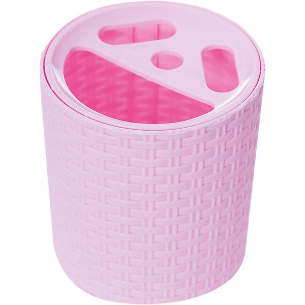 Подставка Плетёнка для зубных щёток , Alternativa, розовыйАксессуары для ванны<br>Характеристики:<br><br>• Предназначение: для хранения зубных щеток и зубной пасты<br>• Материал: пластик<br>• Цвет: розовый<br>• Размер (Д*Ш*В): 10*10*12,3 см<br>• Форма: круглая<br>• Особенности ухода: разрешается мыть теплой водой<br><br>Подставка Плетёнка для зубных щеток, Alternativa, розовый изготовлена отечественным производителем ООО ЗПИ Альтернатива, который специализируется на выпуске широкого спектра изделий из пластика. Изделие выполнено из безопасного и прочного пластика, устойчивого к механическим повреждениям. Подставка имеет форму стаканчика, в ней предусмотрено 3 отверстия для зубных щеток и 1 для хранения зубной пасты. Стаканчик выполнен в розовом цвете, оформлен декором, имитирующим плетение из лозы. Подставка Плетёнка для зубных щеток, Alternativa, розовый обеспечит порядок и сохранность зубных щеток в вашей ванной комнате.<br><br>Подставку Плетёнка для зубных щеток, Alternativa, розовую можно купить в нашем интернет-магазине.<br>Ширина мм: 110; Глубина мм: 110; Высота мм: 125; Вес г: 96; Возраст от месяцев: -2147483648; Возраст до месяцев: 2147483647; Пол: Женский; Возраст: Детский; SKU: 5096662;