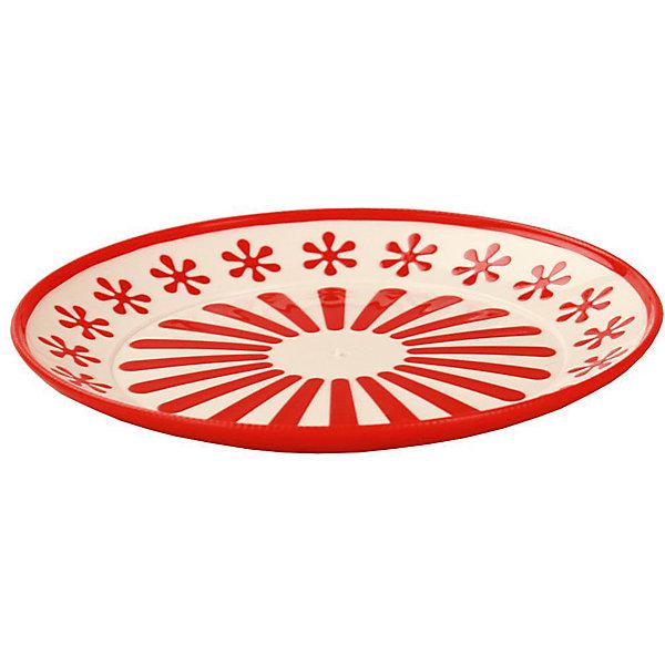 Alternativa Тарелка Валенсия, Alternativa, красный-белый alternativa корзина для белья 30л alternativa голубой