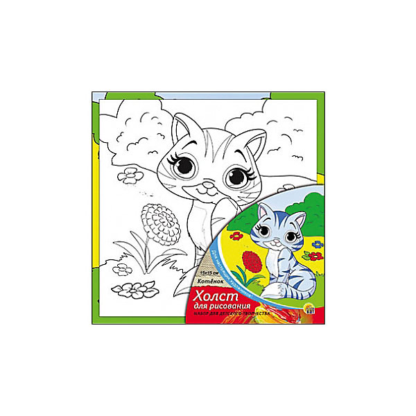 Холст с красками Котёнок 15х15 смКартины по номерам<br>замечательные наборы для создания уникального шедевра изобразительного искусства. Создание картин на специально подготовленной рабочей поверхности – это уникальная техника, позволяющая делать Ваши шедевры более яркими и реалистичными. Просто нанесите мазки на уже готовый эскиз и оживите картину! Готовые изделия могут стать украшением интерьера или прекрасным подарком близким и друзьям.<br>Ширина мм: 150; Глубина мм: 150; Высота мм: 15; Вес г: 838; Возраст от месяцев: 36; Возраст до месяцев: 108; Пол: Унисекс; Возраст: Детский; SKU: 5096733;