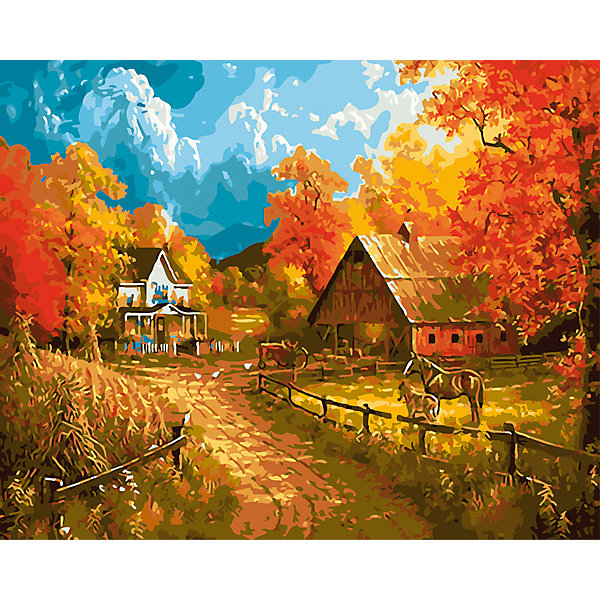 """Рыжий кот Холст с красками по номерам """"Деревня осенью"""" 40х50 см"""