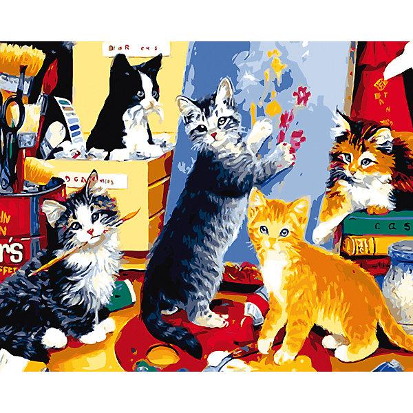 Рыжий кот Холст с красками по номерам Игривые котята 40х50 см рыжий кот набор цветных карандашей озорные котята к 9849