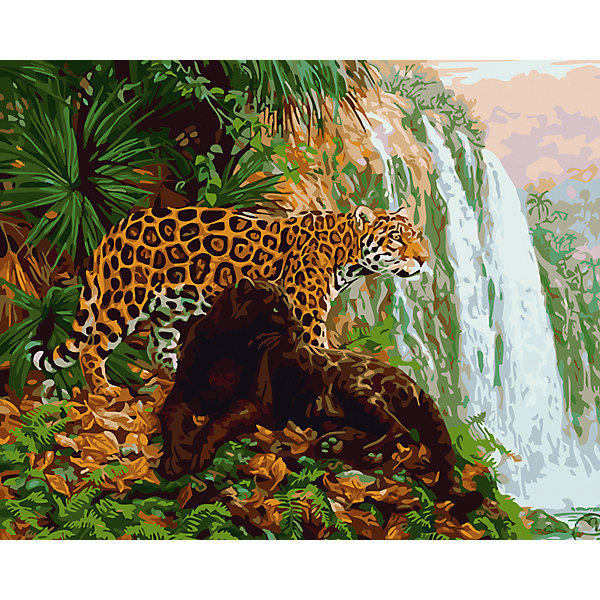 Рыжий кот Холст с красками по номерам Леопард у водопада 40х50 см раскраски рыжий кот холст с красками горы у озера 30х40 см