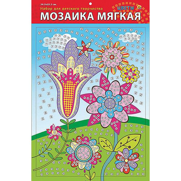 Рыжий кот Мягкая мозаика Цветы формат А3 (34.5х25 см)