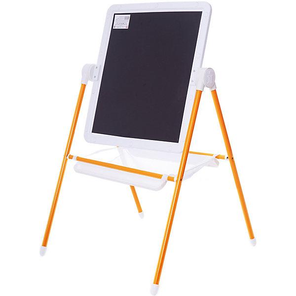 Детский двухсторонний мольберт (оранжевый с белым)Детские мольберты<br>Детский двухсторонний мольберт (оранжевый с белым).<br><br>Характеристики:<br><br>- Внимание: буквы и цифры приобретаются отдельно.<br>- Размер рабочей поверхности: 521х462 мм.<br>- Высота мольберта (при вертикальном положении экрана): 1032 ±2мм.<br>- Материал: пластик, металл<br>- Цвет: белый, оранжевый, черный<br>- Размер упаковки: 720х610х100 мм.<br>- Вес: 1112 гр.<br><br>Мольберт с 2 магнитными поверхностями - это лучший помощник в игре и учебе. На нем удобно размещать магнитные фигуры и буквы алфавита. Уникальная конструкция мольберта позволяет менять угол наклона экрана - для еще большего комфорта юных художников! Белая сторона экрана (доски) служит для нанесения надписей маркерами на водной основе. Черная сторона – для нанесения надписей мягкими мелками. К стойкам мольберта устанавливаются два лотка для канцелярских принадлежностей – мелки, маркеры, карандаши всегда будут под рукой! Имеется вместительный бокс-сетка для хранения игрушек и принадлежностей для творчества. Горизонтальное положение поверхности мольберта превращает его в площадку для игры. Мольберт идеально сочетается с детской складной мебелью «Дэми».<br><br>Детский двухсторонний мольберт с буквами (оранжевый с белым) можно купить в нашем интернет-магазине.<br>Ширина мм: 720; Глубина мм: 610; Высота мм: 100; Вес г: 1112; Возраст от месяцев: 12; Возраст до месяцев: 72; Пол: Унисекс; Возраст: Детский; SKU: 5096940;