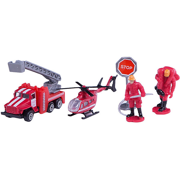 Набор Пожарная техника: Урал + вертолет с аксессуарами, ТехнопаркМашинки<br>Характеристики:<br><br>• тип игрушки: набор;<br>• возраст: от 3 лет;<br>• размер: 5х12х23 см;<br>• цвет: красный;<br>• материал: металл, пластик;<br>• бренд: Технопарк;<br>• страна производителя: Китай.<br><br>Набор Технопарк «Пожарная техника: Урал + вертолет с аксессуарами»  состоит из четырех предметов: 1. коллекционная модель пожарной машины Урал исполнена в красном цвете, на дверях имеются специальные надписи, лестница выдвигается для имитации тушения пожара высотных сооружений. 2. корпус вертолёта имеет красный цвет, на борту имеются специальные надписи. 3. 2 фигурки пожарных исполнены в костюмах пожарников 4. дорожный знак «Stop» имеет устойчивую ножку. Модели изготовлены из качественного металла и не подвержены деформациям.<br><br>Тематические игры с интересными сюжетами разбудят воображение ребёнка, а манипуляции с игрушкой потренируют мелкую моторику пальцев рук. Масштабные модели от компании «Технопарк» отличаются качественными ударопрочными материалами, продлевающими долговечность изделия тщательным исполнением со вниманием ко всем деталям, и имеют требуемые сертификаты соответствия для детских игрушек.<br><br>Набор Технопарк «Пожарная техника: Урал + вертолет с аксессуарами»  можно купить в нашем интернет-магазине.<br>Ширина мм: 50; Глубина мм: 120; Высота мм: 230; Вес г: 130; Возраст от месяцев: 36; Возраст до месяцев: 120; Пол: Мужской; Возраст: Детский; SKU: 5099078;