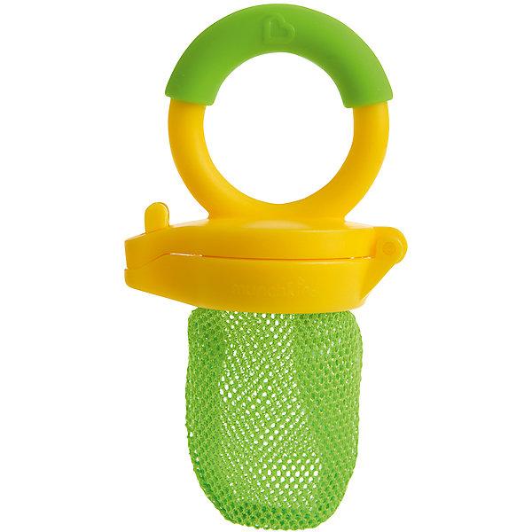Ниблер, Munchkin, желтый/зеленыйНиблеры<br>Ниблер, Munchkin, желтый/зеленый<br><br>Характеристики:<br><br>• Цвет: желтый<br>• Материал: пластик, силикон<br>• Не содержит бисфенол А<br>• От 4 месяцев<br><br>Красивый и полностью безопасный ниблер сделан из качественных материалов, которые не содержат вредных веществ. Отлично подходят для введения прикорма: кусочков фруктов, овощей, печенья и даже мяса. Ситечко не пропускает большие кусочки, не давая ребенку поперхнуться. Это помогает на первоначальных этапах прикорма. Удобная ручка не выскальзывает из маленьких рук ребенка и помогает ему самостоятельно учиться кушать. Есть крышечка в комплекте. Ниблер легко чистить.<br><br>Ниблер, Munchkin можно купить в нашем интернет-магазине.<br>Ширина мм: 50; Глубина мм: 100; Высота мм: 200; Вес г: 50; Возраст от месяцев: 6; Возраст до месяцев: 12; Пол: Унисекс; Возраст: Детский; SKU: 5101201;